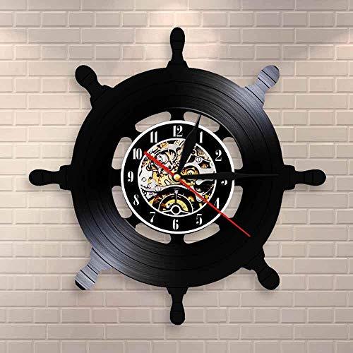 BFMBCHDJ Kapitän Schiff Rad Wandkunst Schiff Lenkung Wohnzimmer Wanddekor Vinyl Schallplatte Wanduhr Reise Sea Sailing Mariner Sailors Geschenk
