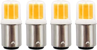 Ba15d Double Contact Bayonet Base LED Bulb 120V 4W (30W Halogen) Replaces JD Type T3/T4/C7 Bulbs, Dimmable Sewing Machine Lamp/Chandelier, Warm White 3000K, 4-Pack