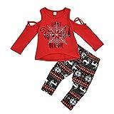 JiaMeng 6 Monate-4 Jahre Unisex Kinder Weihnachten Cartoon Drucken Lange Ärmel Trägerlos T-Shirt Tops und Rentier Drucken Lange Hosen Weihnachten Süß Anzug