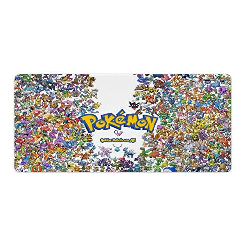 Pokemon Gaming Large Mouse Pad with Stitched Edges- Extended XXXL Mouse Mat with Nonslip Natural Rubber Base and Waterproof Surface,Foldable 4mm Thick Keyboard Pad