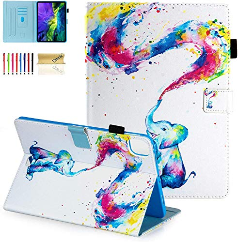 Dteck iPad Air 10.9' (4th Gen) Case, iPad Pro 11 2020 Case,Folio Stand Cover Auto Sleep Wake Pencil Holder Protective TPU Cover Case for Apple iPad Air 4, iPad Pro 11 2nd/1st Gen,Colorful Elephant