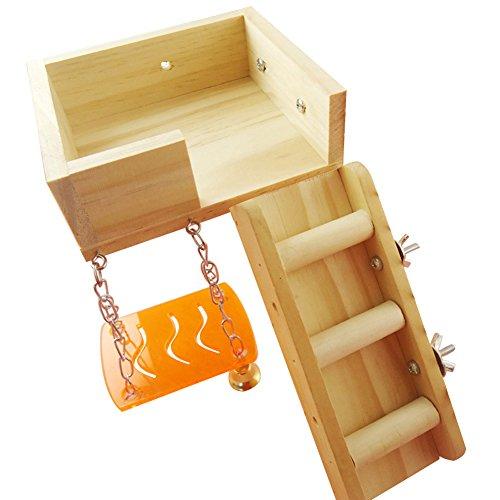 tianxiangjjeu huisdier speelgoed pak klimmen zolder ladder staande schommelen opknoping decoratieve geschenk, Wood Color