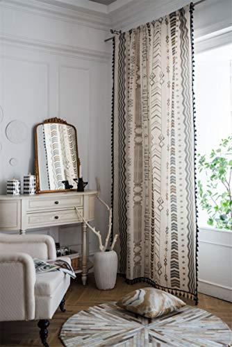 SWECOMZE 1 cortina de lino transparente, gasa, estilo bohemio, para ventana de salón o dormitorio (estilo B, 160 x 150 cm alto x ancho)