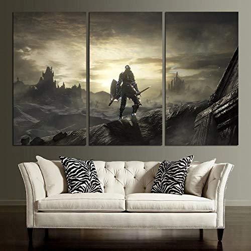 IMAX666 Cuadro En Lienzo,Imagen Impresión,Pintura Decoración,Canvas De 3 Pieza,50X70Cm,Final De La Ciudad Anillada De Dark Souls 3 Mural Moderno Decor Hogareña