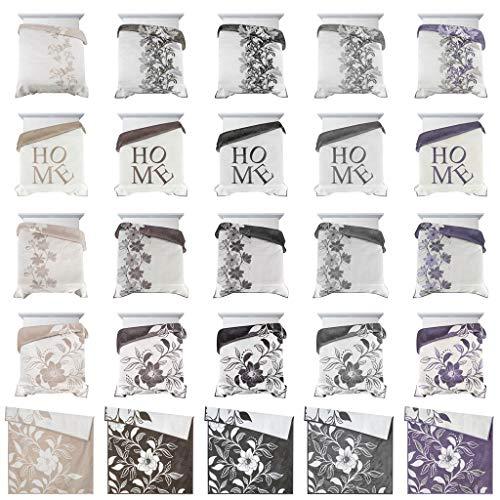Eurofirany Elegante Tagesdecke Zweifarbige Decke Doppelseitge Überwurf XXL XL Hochwertig 220x240 cm 240x260 cm 270x260 cm Bester Qualität (Home Creme+braun, 240 x 260 cm)