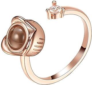 Flamedre - Herrlicher und großzügiger kreativer runder Liebesdiamant-Geständnis-Damenring Wunderschöne kreative Runde Liebe Diamanten Geständnis Damen Ring Schmuck