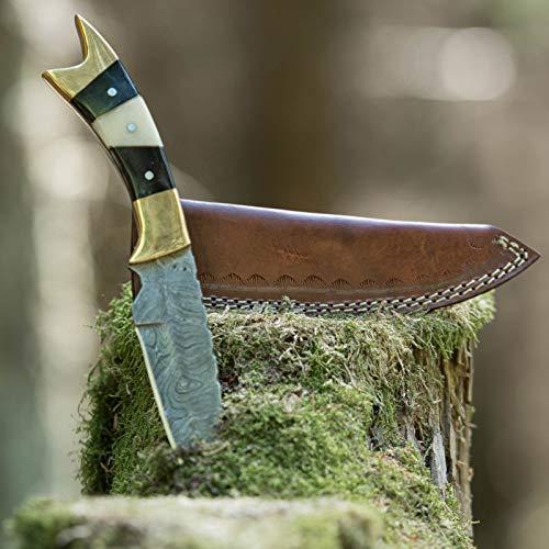 elToro Double Brass Horn - Damast - Jagdmesser - 12,7cm - inkl. Lederscheide; Messer für Camping, Outdoor, Survival
