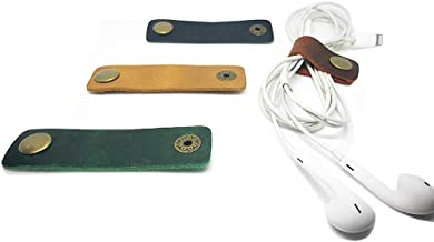 Yohok-Go Cord Headphone Organizer Earbud Case Handmade Leather Gifts, Earphone Headset Wrap Winder Phone Headphone Cable Strap USB Holder,Cord Keeper Management,Tiny Gadget Clips