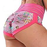 Pantalones Cortos Leggings Mujer Mallas de Yoga Alta Cintura Elásticos y Transpirables #4 Floral Rosa-B L
