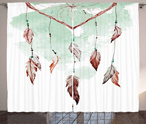 """Ambesonne Feather Curtains, Watercolor Vibrant Dream Catcher with Ornamental Elements Traditional Design, Living Room Bedroom Window Drapes 2 Panel Set, 108"""" X 63"""", Green Brown"""