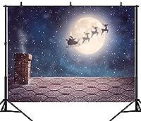 GooEoo 7X5FT(210X150CM)メリークリスマスの日のテーマクリスマスツリーとプレゼントサンタクロースカスタマイズされたシームレスなビニール写真の背景写真の背景スタジオプロップPGT148A