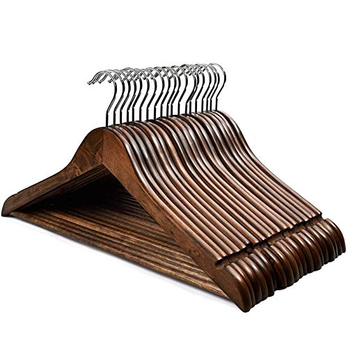 HOUSE DAY Hangers Wooden Hangers 20 Pack Wooden Clothes Hanger Wooden Hanger Bulk Walnut Smooth Finish Wood Hangers Premium Wooden Hangers for Clothes Suit