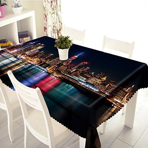 Qiao jin Tischdecke Szenische rechteckige Tischdecke 3D in der Nachtlandschaft - umweltfreundlich, geruchlos - Digitaldruck wasserdicht (Größe   Rectangular -228cmx335cm)