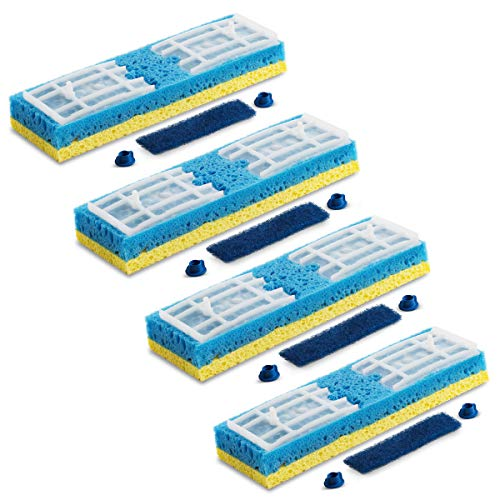 Quickie Sponge Mop Refill Type S [Set of 4] Sponge Mop Head Replacement - Quickie Mop Pads Refills 9X2.75 Inch - Quickie Mop Replacements #045 - Made in USA - Bundled Eraser Cleaning Pad Product Name