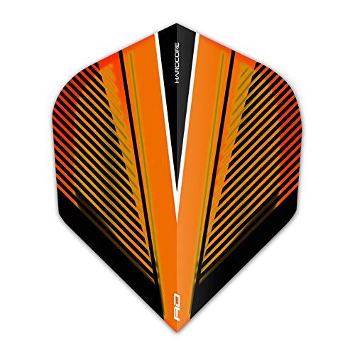 RED DRAGON Hardcore Radical Orange V Extra Dicke Standard Dart Flights - 4 Sätze pro Packung (12 Flights insgesamt)