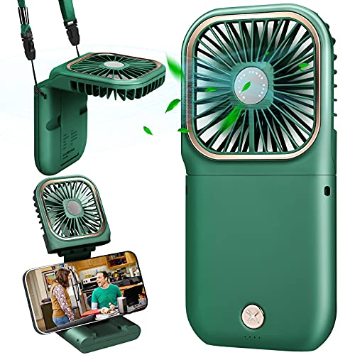 DAVID ROCCO Handheld Fan with Power Bank, 2021 upgrade Small Personal Fan with 3 Speeds Neck Fan Rechargeable Portable Fan, Good for Travel Home Office School Queue (Green)