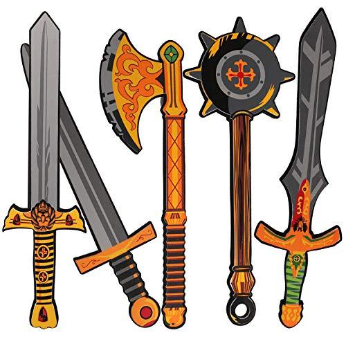 Foam Weapons Swords Toy for Boys  17 inch Foam Sword for Kids  Kids Ninja Sword  Pack of 5 Warrior Foam Weapons Pretend Playset Toy Foam Swords for Boys