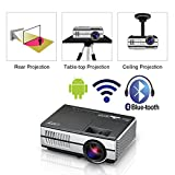Mini Portable LED Home Theater Bluetooth Wireless HDMI Projector Smart LCD Android Wifi