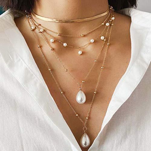 Sethain Boho En capas Gargantilla de perlas Collar Oro Cadena colgante colgante Multicapa Collares de hueso de serpiente Joyas para mujeres y niñas