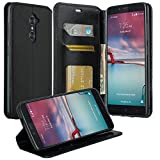 Galaxy Wireless GW Cases Compatible for ZTE Blade X Max Case/Z Max Pro Case/Carry/Grand X Max 2/Imperial Max, ZTE Max Duo LTE Case [Kickstand] Pu Leather Wallet Case with ID&Credit Card Slot - Black