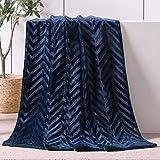 Whale Flotilla Flannel Fleece Throw Size(50x60 Inch) Lightweight Throw Blanket for Couch, Soft Velvet Throw Plush Fluffy Blanket with Decorative Chevron Design, Navy Blue
