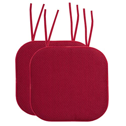 Sweet Home Collection Chair Cushion Memory Foam Pads with Ties Honeycomb Pattern Slip Non Skid Rubber Back Rounded Square 16' x 16' Seat Cover, 2 Pack, Red