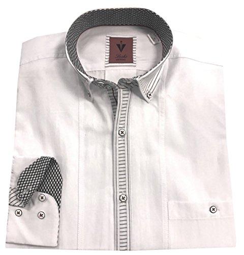 Leché Designerhemd Langarm in Weiß mit schwarzen Streifen auf der Knopfleiste (XL)
