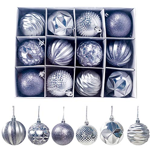 KFYJR 2020 New 12 Pieces Set 2.36'' Christmas Tree Decoration Hanging Ball Pink Sequins Ball Large Christmas Tree Ornaments Shatterproof Christmas Ball Ornament + Gift Package, Silver