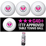 Butterfly G40+ 3 Star Poly Table Tennis Balls - 12 Pack - White - ITTF Approved