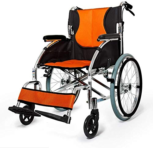 JKUNYU Sillas de ruedas plegable portátil portátil sillón de ruedas mayor engrosamiento de ruedas manual Ultra Ligero discapacitados CARRO de Suministros Médicos Médicos for adultos Sillas de ruedas