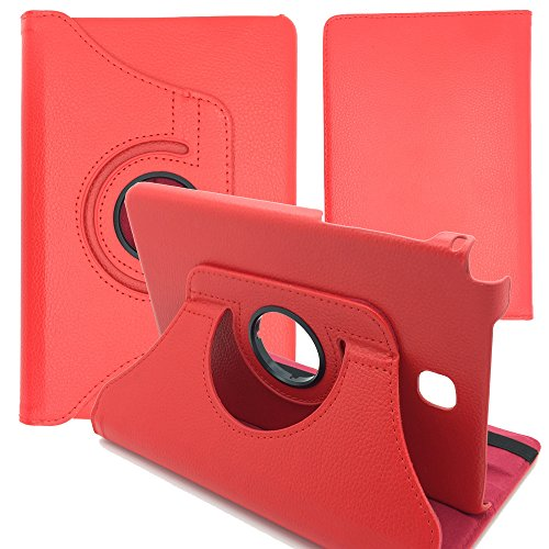 GlobalShop2016 &apos 360Degree Rotating Tablet Case for Samsung Galaxy Tab 8.0sm-t350T355 Funda + Protector red