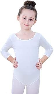 Soudittur Girls' Team Basic Ballet Dance Leotard 3/4 Long Sleeve Mesh Back Cotton Bodysuit Dancewear for Toddler Kids
