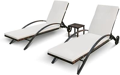 IKAYAA Set de 2 Tumbonas de Jardin con una Mesita Marco de Hierro con Cojines Respaldo Ajustable: Amazon.es: Jardín