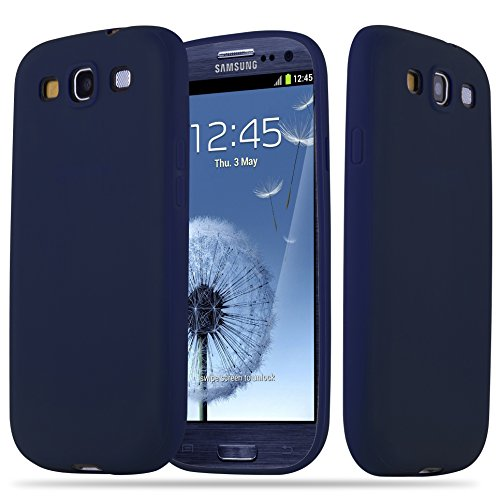 Cadorabo Hülle für Samsung Galaxy S3 / S3 NEO - Hülle in Candy DUNKEL BLAU – Handyhülle aus TPU Silikon im Candy Design - Silikonhülle Schutzhülle Ultra Slim Soft Back Cover Case Bumper