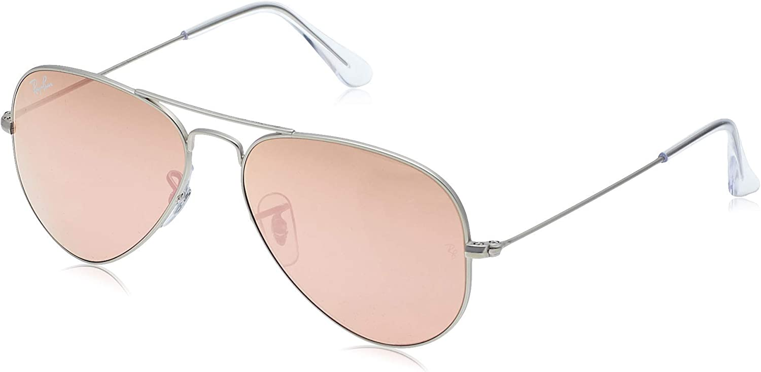 Ray-Ban - Lunette de soleil Aviator Large Metal Aviator  - Femme, Gold/Marron/rose/argent Gris (Bronze/Brown Mirror Pink)