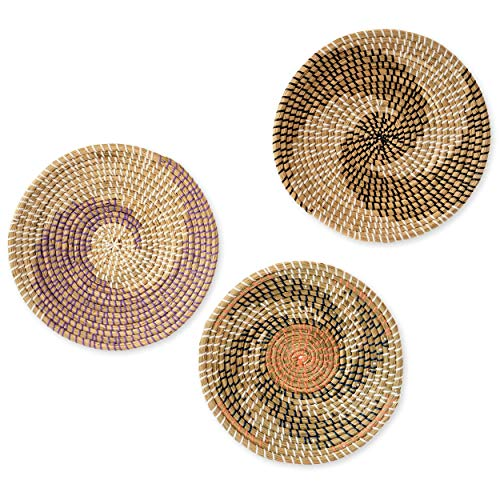 "Artera Wicker Wall Basket Decor - Set of 3 Hanging Woven Seagrass Flat Baskets, Round Boho Wall Basket Decor for Living Room or Bedroom, Unique Wall Art (Set of 3-13"" Round, Style 5)"
