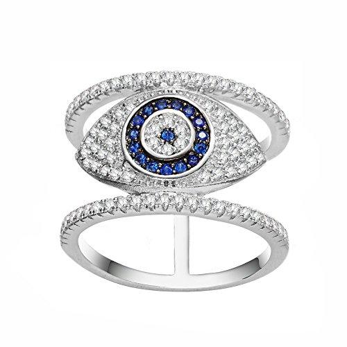 KIVN Fashion Jewelry Spiritual Evil Eye CZ Cubic Zirconia Finger Rings for Women