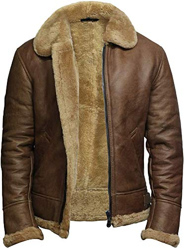 BRANDSLOCK Airforce Uomo RAF Aviator Soft Shearling pelle di pecora Leather Bomber Flying Jacket (Marrone, XS)