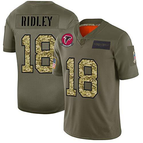 Herren American Football Trikots Ridley 18# Fan Rugby Trikots, Atlanta Falcons # 18 Jungen Trikots Kurzarm Sport T-Shirt Training Top-ArmyGreen-XL