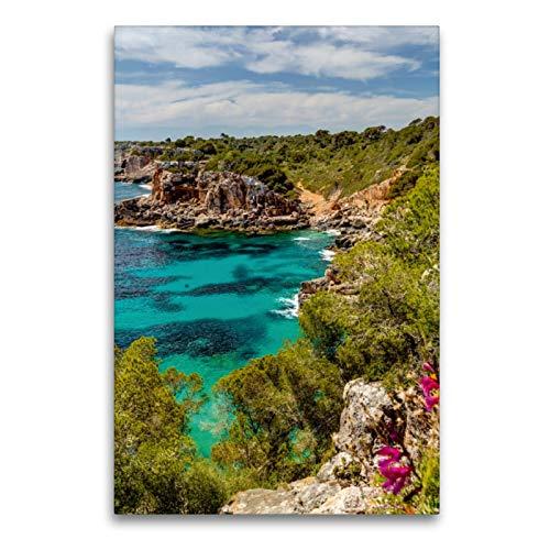 Premium Textil-Leinwand 60 x 90 cm Hoch-Format Mallorca wundervolle Cala S´Almunia | Wandbild, HD-Bild auf Keilrahmen, Fertigbild auf hochwertigem Vlies, Leinwanddruck von Jürgen Seibertz