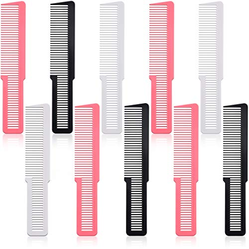 10 Pieces Hair Cutting Comb Fine Tooth Styling Comb Barber Styling Hair Comb Clipper Cutting Comb for Home Salon Barber (Black, White, Pink)