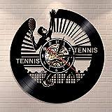 LBJZD Horloge Murale Tennis Horloge Murale Tennis Joueur Silhouette Vinyle Disque Horloge Murale Vintage Sport Thème Raquette Décor À La Maison Amateur De Tennis Idée Cadeau sans Lumière LED