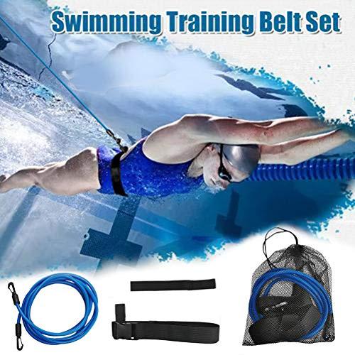 Knowoo Swim Training Belts Swim Bungee Cords Resistance Bands Swim Tether Stationary Swimming Swim Harness Static Swimming Belt