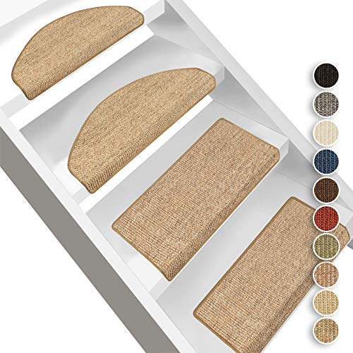 Floordirekt Alfombra para peldaños Pure Nature, semicircular o rectangular, en 10 colores, alfombra para escaleras de fibra de sisal natural, robusta (rectangular con labio de 65 x 23,5 cm, corcho)