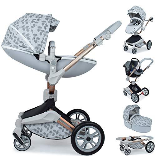 Daliya ® 3in1 360° Turniyo Kinderwagen Kombikinderwagen Buggy mit Babywanne, Sportsitz & Cariyo Babyschale, Aluminium Rahmen (3in1, Grau mit Motiv)