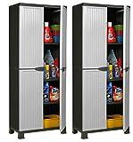 Hier passt viel rein: 2 Stück Kunststoffschrank Modell Noble. Jeder Schrank mit 3 höhenverstellbaren Einlegeböden, 4 Füßen und abschließbaren Türen! Maße pro Schrank: 68 x 40 x 171 cm
