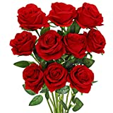  Luyue Artificial Rose Flower Red Silk Roses with Stem Flowers Bouquet Wedding Party Home Decor, Pack of 10 (Red)