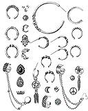 Milacolato Cuff Earrings Set Boho Crawler Pendientes para Mujeres Chicas Antiguas Tribales Bohemias Stud Hoop Pendientes Pendientes de Cartílago Punk