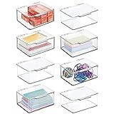 mDesign Juego de 8 organizadores de escritorio – Organizador de oficina apilable de plástico sin BPA – Caja de almacenamiento pequeña con tapa para lápices, gomas y demás material – transparente