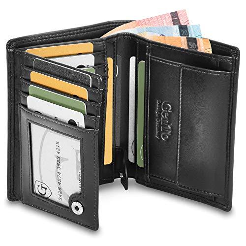 Dublin Geldbörse mit Münzfach - TÜV geprüfter RFID, NFC Schutz - geräumiges Portemonnaie - Geldbeutel für Herren und Damen - Portmonaise inkl. Geschenkbox (Schwarz - Glatt)